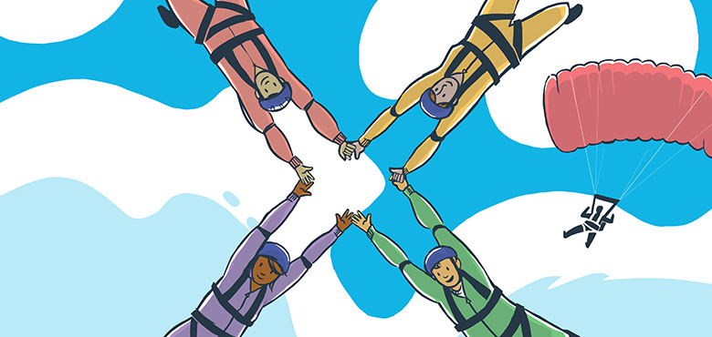 cartoon image of four skydivers linking hands, with their arms forming an 'X' shape